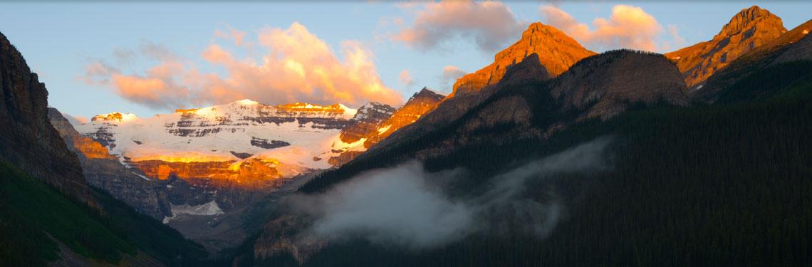 mountains half in sunlight