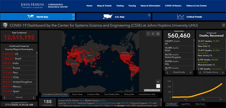 Johns Hopkins COVID-19 Map July 11 2020