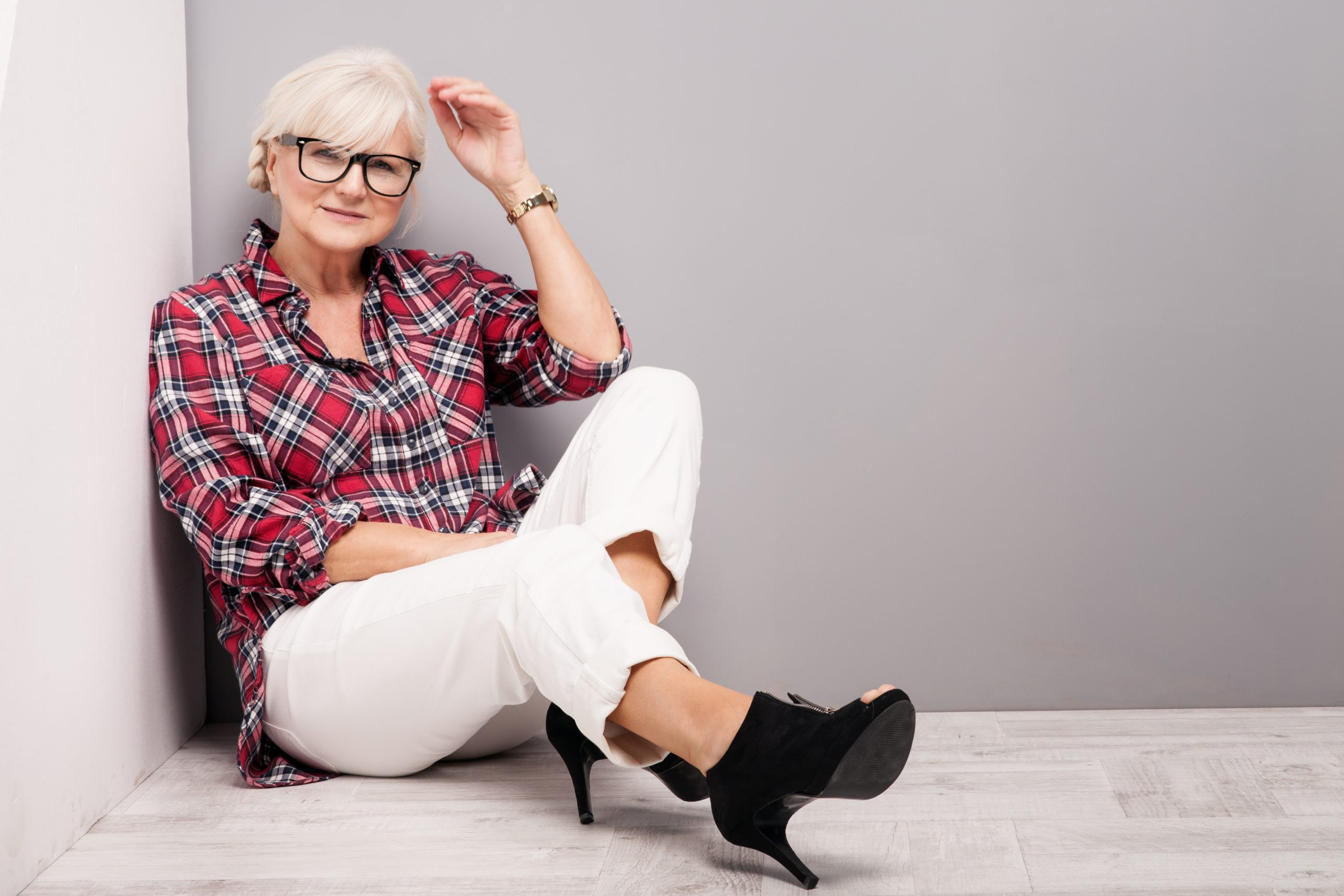 Middle aged menopausal woman with gray hair